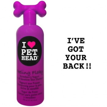 Pet Head Шампунь клубнично-йогуртовый для сухой и чувствительной кожи собак с юккой, ромашкой и шелком, без сульфатов и парабенов (FEELING FLAKY) PH10104