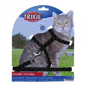 Trixie / Трикси 4183 Шлейка д/кошек светоотражающая с поводком 30см*10мм
