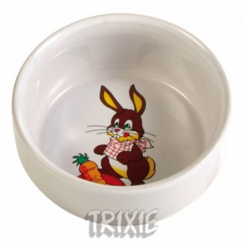 "Trixie / Трикси Миска д/грызунов белая с рисунком ""Кролик"", керамика 0,3л*ф11см 6063"