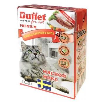 Buffet Мясные кусочки в желе для кошек мясной микс (Tetra Pak 190г)