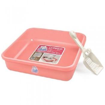 Туалет Catidea 44х44х9,8 см квадратный, для котят, совок, розовый
