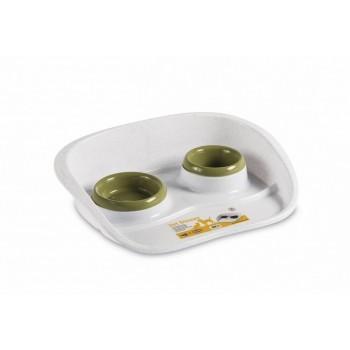 Stefanplast / Стефанпласт Подставка Set Dinner бело-зеленая с мисками, 0,2 и 0,3л (97782)
