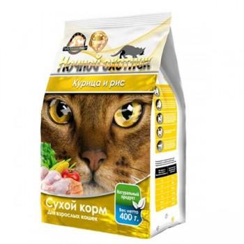 Ночной охотник сух корм 400г для кошек Курица и рис