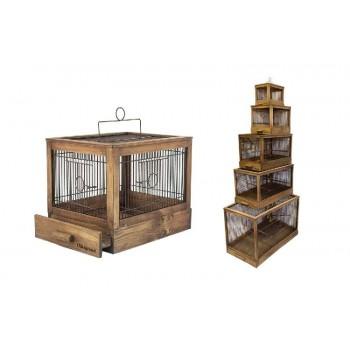 Darell / Дарэлл Клетка для птиц Ретро - кантри малая, деревянная, цвет палисандр, 47,5х27х32 (8760)