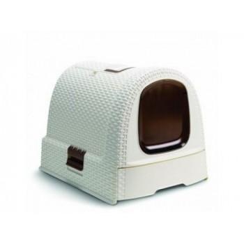 Curver PetLife / Курвер ПетЛайф Туалет-домик для кошек, кремово-коричневый, 51*39*40см