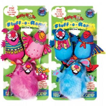 Fat Cat Игрушка д/кошек - Три мягкие зверушки, мягкая, Fluff-o-Rama 3 pc Cat Toy
