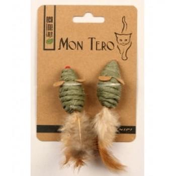 """Mon Tero / Мон Теро ЭКО игрушка для кошек """"Мышь"""", 2шт х 5 см, с перьями, с кошач. мятой, зелёные"""