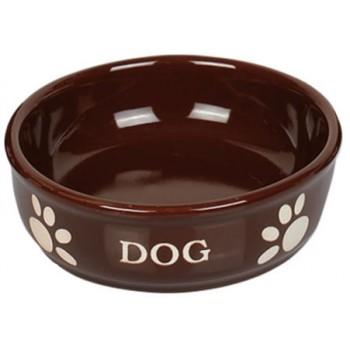 Nobby / Нобби Миска 15,5 X 6,5см керамика коричневая с рисунком DOG 1х24 73434