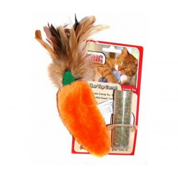 """Kong / Конг игрушка для кошек """"Морковь"""" плюш с тубом кошачьей мяты"""