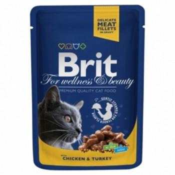 Brit / Брит Премиум пауч д/кошек Chicken & Turkey Курица и индейка, 100г