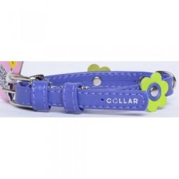 CoLLaR Glamour Ошейник кожаный, двойной прошитый с украшением аппликация, 21-29см*12мм, фиолетовый (35009)