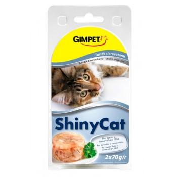 Gimpet / Гимпет Консервы Shiny Cat с тунцом и креветками в блистере д/кошек, 2*70г