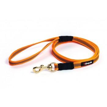Gripalle / Грипэлле 18-150G 4244 Поводок нейлоновый прорезиненный для собак, фурнитура из латуни 18 мм*150 см, Оранжевый