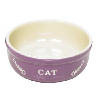 Nobby / Нобби Миска 13,5x5см 0,24л керамика фиолетовая с рисунком CAT(1х24) 73369