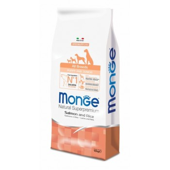 Monge / Монж Dog Speciality Puppy&Junior корм для щенков всех пород лосось с рисом 12 кг