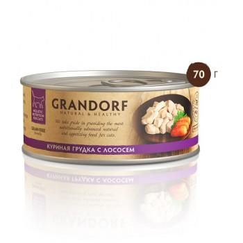 Grandorf / Грандорф консервы для кошек Куриная грудка с лососем 70 гр.