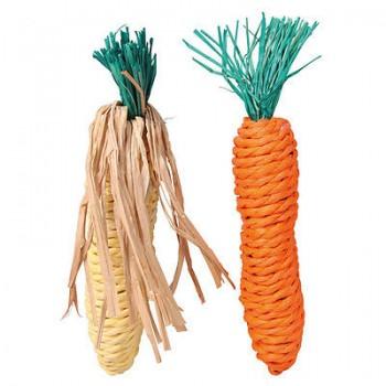 """Trixie / Трикси Набор игрушек д/грызунов """"Морковь и Кукуруза"""", сизаль 15см*2шт 6192"""