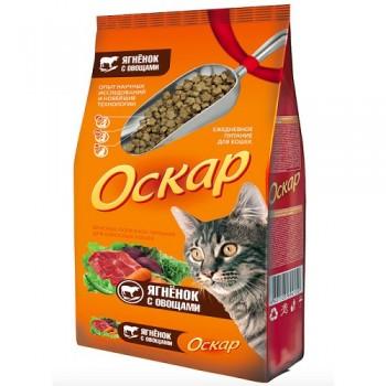 Оскар сухой для кошек с мясом ягненка и овощами 0,4 кг
