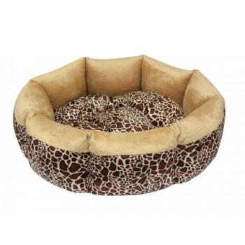 Зооник Лежанка круглая малая комбинированная (вельбо+плюш) (46х46х16)