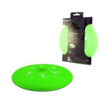 Richi / Ричи 17839 Летающий диск зеленый 20см с LED подсветкой, 4 режима, 2xCR2032 в компл. (фрисби)