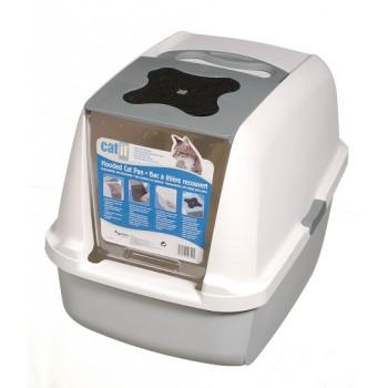 Hagen / Хаген закрытый туалет для кошек, серый /белый/серый 56х42х44