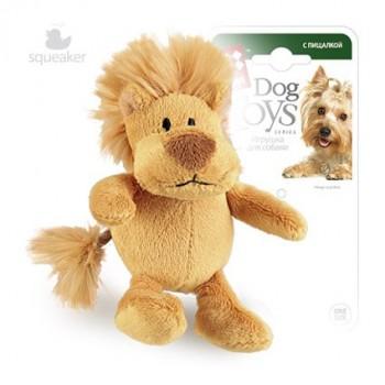 GiGwi / ГиГви Игрушка для собак Лев с пищалкой 10 см, серия PLUSH FRIENDZ