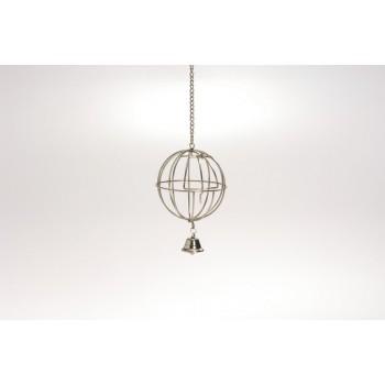 Beeztees / Бизтис 810565 Кормушка-мяч металлическая хромированная подвесная с дверцей и колокольчиком 12см