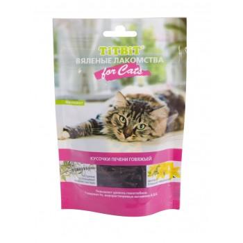 TitBit / ТитБит Вяленые лакомства Кусочки печени говяжьей для кошек 60 г