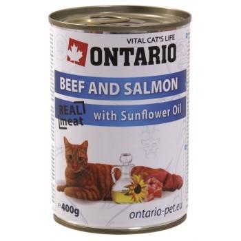 Ontario / Онтарио Консервы для кошек: говядина и лосось 0,4 кг