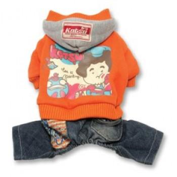"""Katsu / Катсу Комбинезон """"Беби Дог"""" (куртка+джинсы) с капюшоном, тепл.трикотаж, разм S (26х40х21см) оранж"""