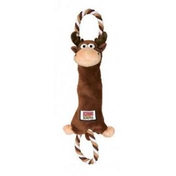 """Kong / Конг игрушка-перетяжка для средних и крупных собак """"Лось"""" канат/мех"""