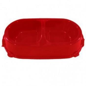 Favorite / Фаворит миска пластиковая двойная нескользящая 0,45л. красная
