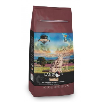 Landor / Ландор сухой беззерновой корм для кошек с функцией контроля образования комочков шерсти и контроля веса, ягненок с бататом 2 кг