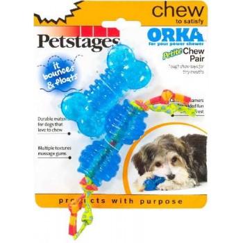 """Petstages / Петстейджес набор из двух игрушек для собак мелких пород """"ОРКА косточка + гантеля"""" 7 см ультра-мини"""