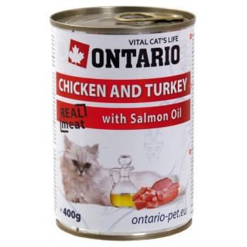 Ontario / Онтарио Консервы для кошек: курица и индейка 0,4 кг