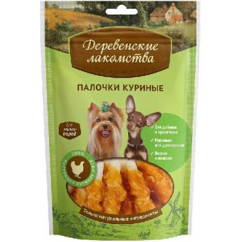 Деревенские лакомства для мини-пород Палочки куриные, 55 гр