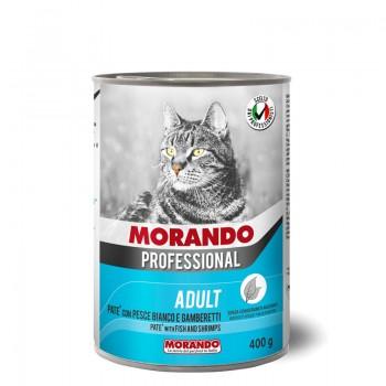 Morando / Морандо Professional консервированный корм для кошек паштет с белой рыбой и креветками, 400г, жб