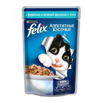 Felix / Феликс для кошек Форель аппетитные кусочки в желе 85 гр