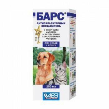 БАРС Шампунь антипаразитарный с эфирными маслами и экстрактами лекарственных трав для собак и кошек, 250 мл