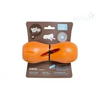 Zogoflex / Зогофлекс игрушка для собак гантеля под лакомства Qwizl S 14 x 6 см оранжевая