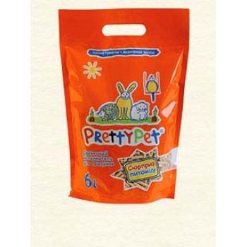PrettyCat Наполнитель древесный с морковными чипсами для грызунов и птиц 6 л