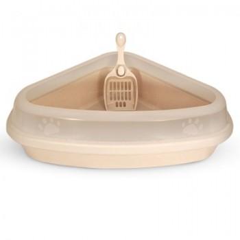 Triol / Триол Туалет P666 для кошек угловой с бортом (совок в комплекте), 540*400*150мм