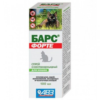 БАРС ФОРТЕ Спрей инсектоакарицидный для кошек, 100 мл (на основе фипронила)