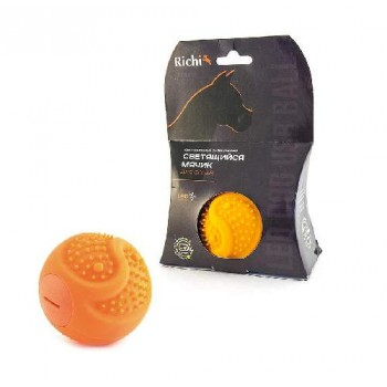 Richi / Ричи 17990 Мячик оранжевый силиконовый 6.5см с LED подсв., встр. аккум., зарядка от USB