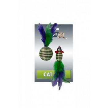 """Papillon / Папиллон Игрушка для кошек """"Мышка и мячик с перьями"""" 5+4см, в полоску, текстиль"""