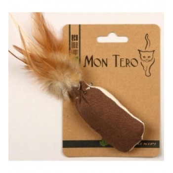 """Mon Tero / Мон Теро ЭКО игрушка для кошек """"Мешочек с перьями"""", 8см х 4см, с кошач. мятой, корич./белый"""