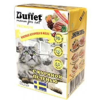Buffet Мясные кусочки в желе для кошек с куриной печенью (Tetra Pak 190г)
