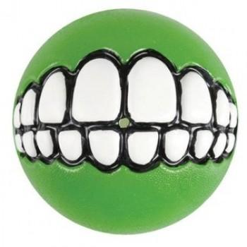 Rogz / Рогз Мяч с принтом зубы и отверстием для лакомств GRINZ средний, лайм (GRINZ BALL MEDIUM)