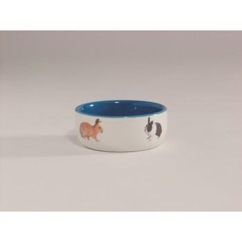 Beeztees / Бизтис 801650 Миска керамическая с изображением кролика, голубая 300мл*11,5см