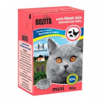 Bozita / Бозита MINI 2104 кон.д/кошек кусочки в соусе Мясной коктейль 190г